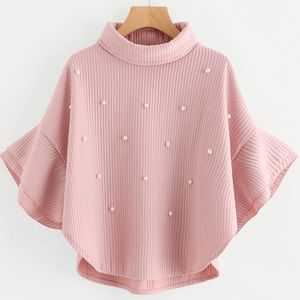 COPY - 🆕Blush pearl detail ribbed high neck cape